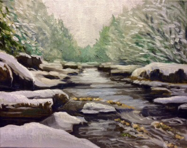 Snowy Creek Part 1 Fine Art Print by Artist Hilary J. England