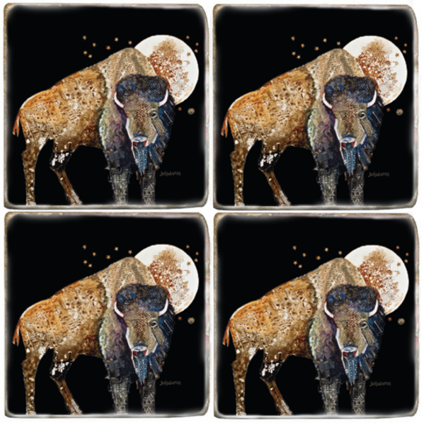 Oh Give Me a Home Buffalo Spirit Animal Coaster Set
