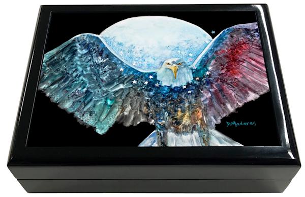 Amazing Grace Eagle Spirit Animal Wooden Keepsake Box Black