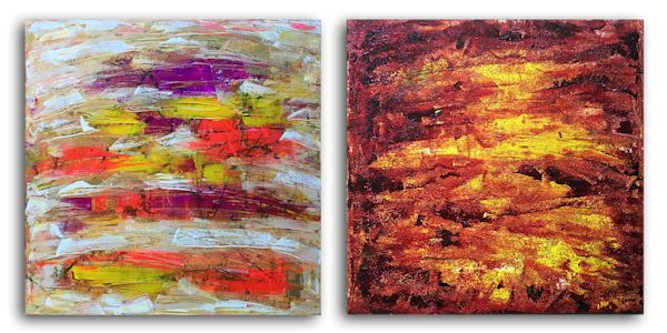 Emotionally Charged abstract acrylic diptych