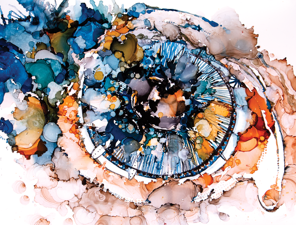 "premium print of ""Mirror,"" an abstract intuitive paintings of an eye, ink on paper"