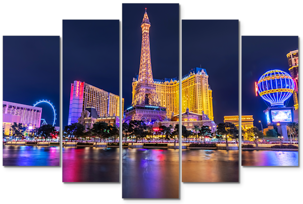 Paris Hotel Las Vegas - 5 Piece Wall Art | William Drew Photography