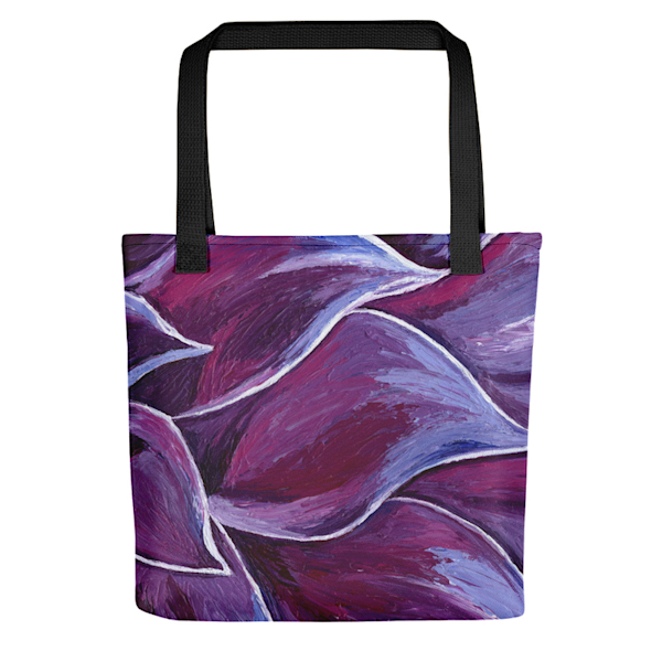 "Stylish, colorful tote bag with original artwork ""Peaceful Petals"" by Mary Anne Hjelmfelt printed on them."