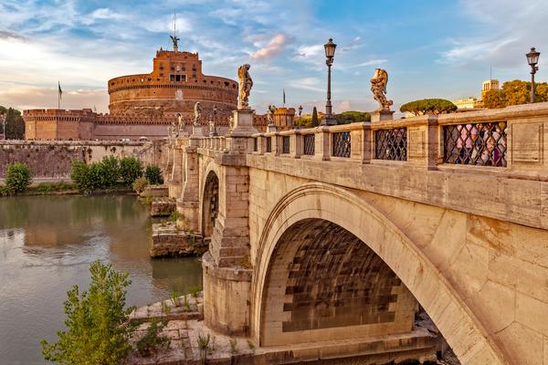 fortress,  mausoleum, Tiber River, Rome, Angel Figures
