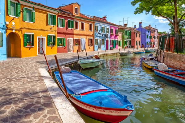 Venetian Lagoon, Canal City, Vaporetto, Fishing Boats, Bright Houses