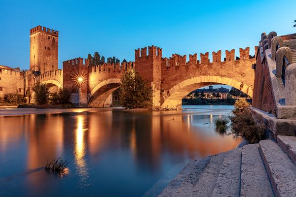 medieval castle, Adige River, Arch Bridge, Architecture