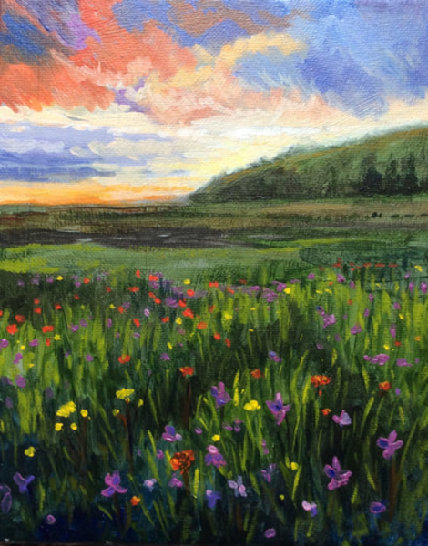 Summer Wildflowers at Sunset Original Artwork