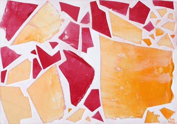 Red & Orange Mosaic Art | Sculpted Paint