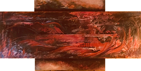 Backdraft...an original acrylic on 3 panels by Kim Howes Zabbia