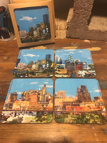 TWIN CITIES SKYLINE COASTER SET
