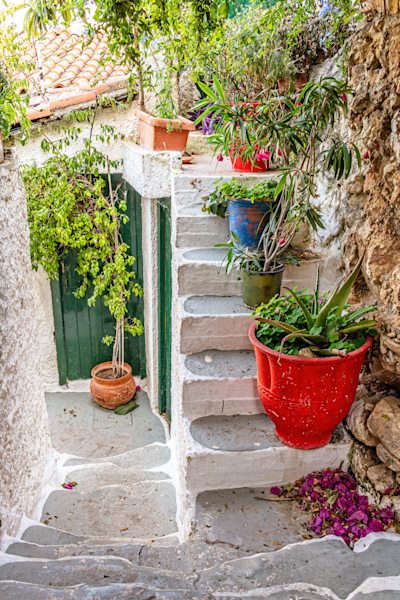 Tiny neighborhood, Athens, Greece, old historical,  Plaka, Cycladic architecture
