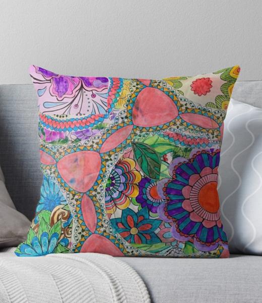 60s Flower Power Pillow