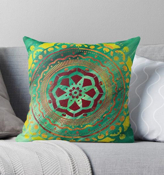 Green Mandala Pillow