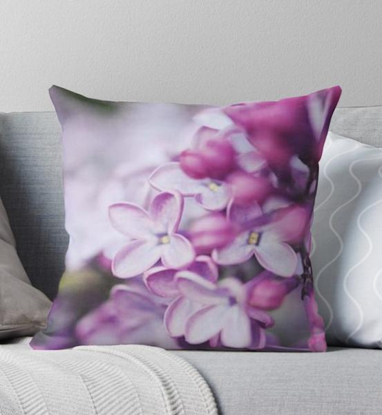Macro Lilacs Pillow