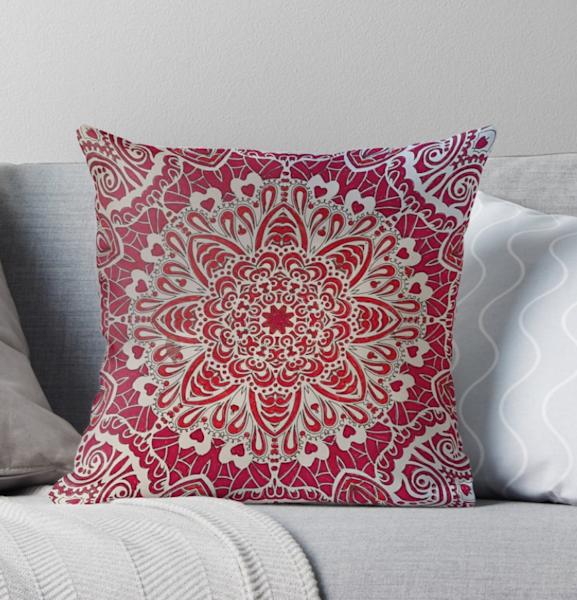 Red Mandala Pillow