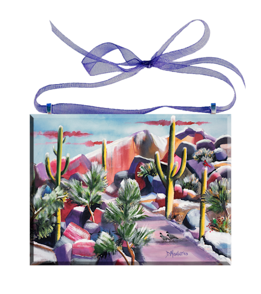 Sabino in Snow Glass Ornament Desert Holiday