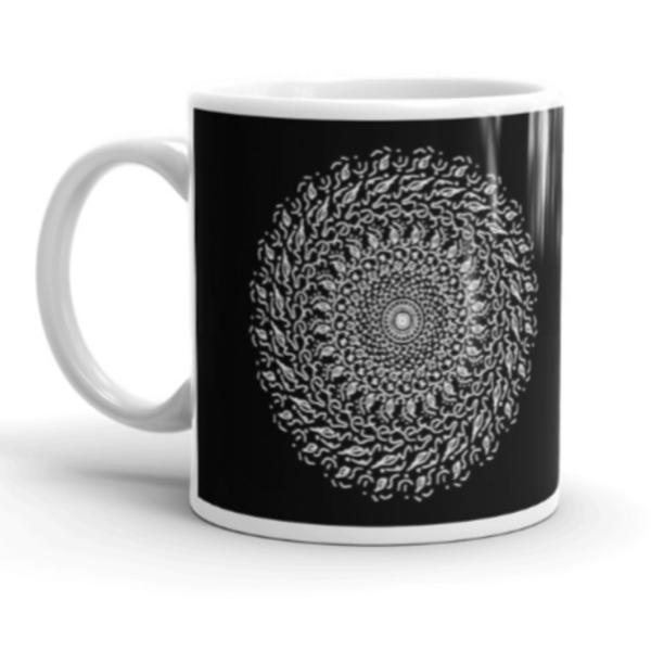 Leaf Mandala Mug in Black & White. Original Art Mug