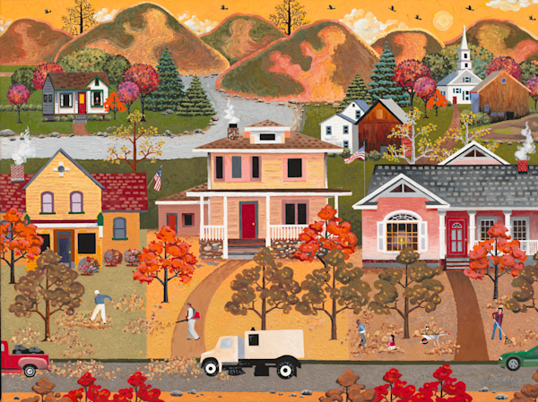 Americana Golden Autumn Leaves  Art Prints