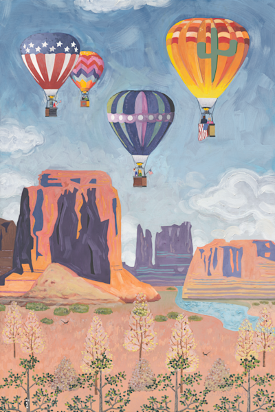 Hot Air Balloons, Southwest, American Flag, Art Prints
