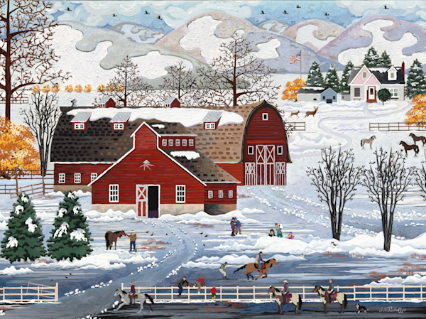 Serene Winter Barn Folk Art Print