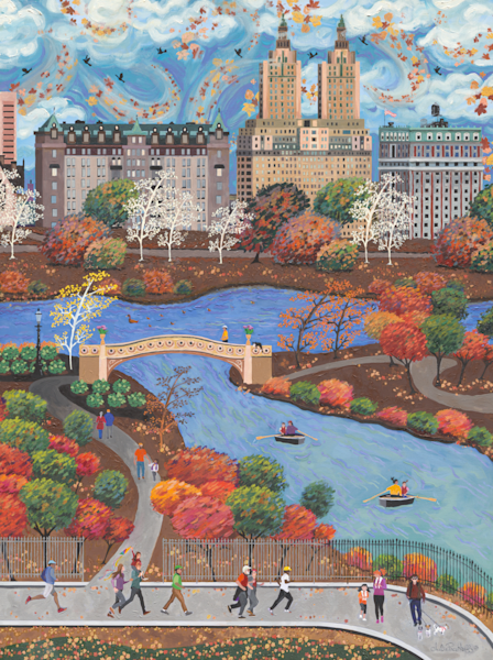 Autumn New York Central Park  Americana Folk Art Fine Art Prints