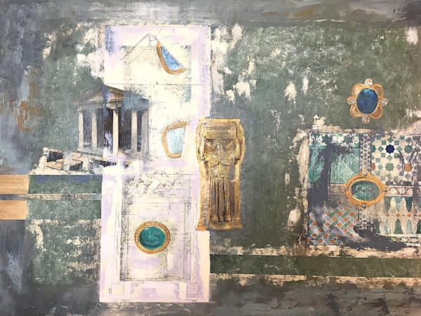 Original Mixed Media Collage Greek/ Ancient-style Painting