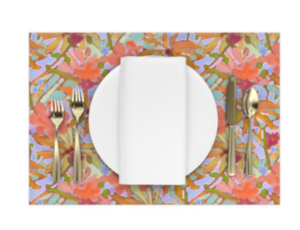 Wildflower Pastel Colors Tablecloth, Runner, Placemats, Napkins by Dorothy Fagan