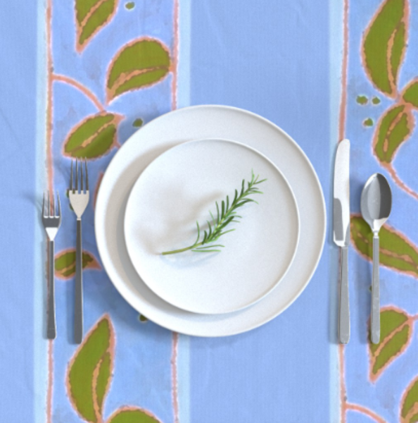 Periwinkle Blue Garden Table Linens by Designer Dorothy Fagan