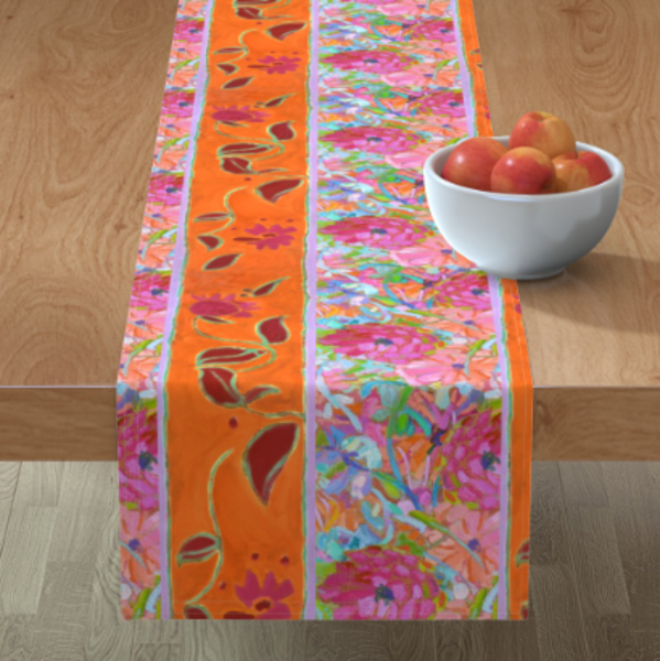 Orange Pink Flower Table Linens by Dorothy Fagan