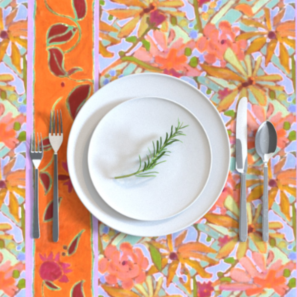 Pastel Floral Table Linens by Designer Dorothy Fagan