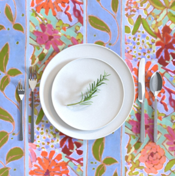 Lavender Blue Wildflowers Table Linens by Dorothy Fagan