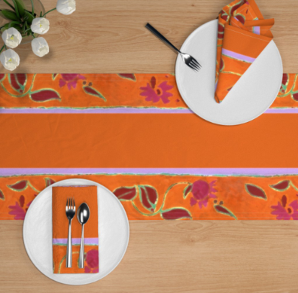Orange Floral Table Linens by Designer Dorothy Fagan