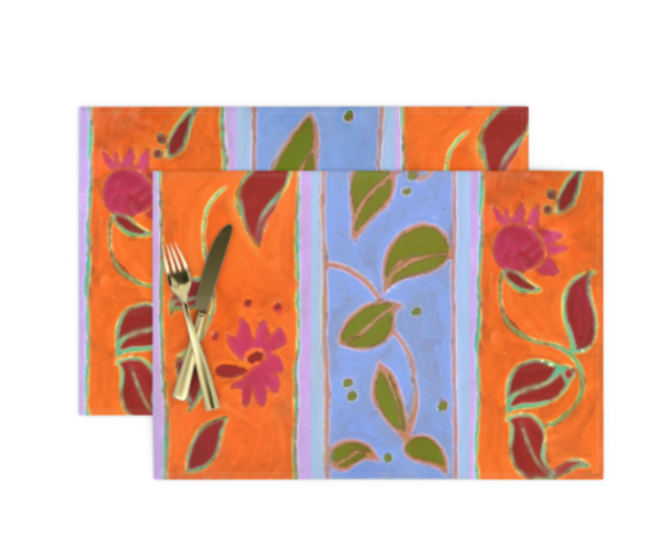 Wildflower Stripe Table Linens by artist Dorothy Fagan