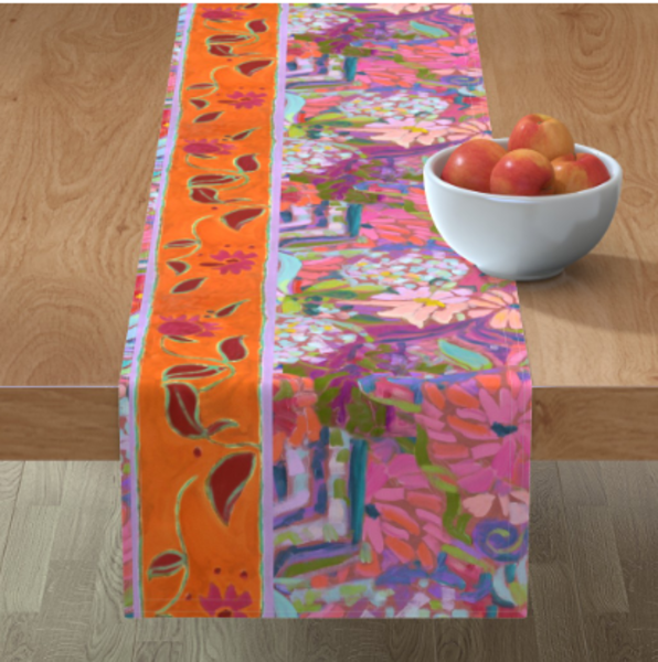 Orange Pink Floral Table Linens by Dorothy Fagan