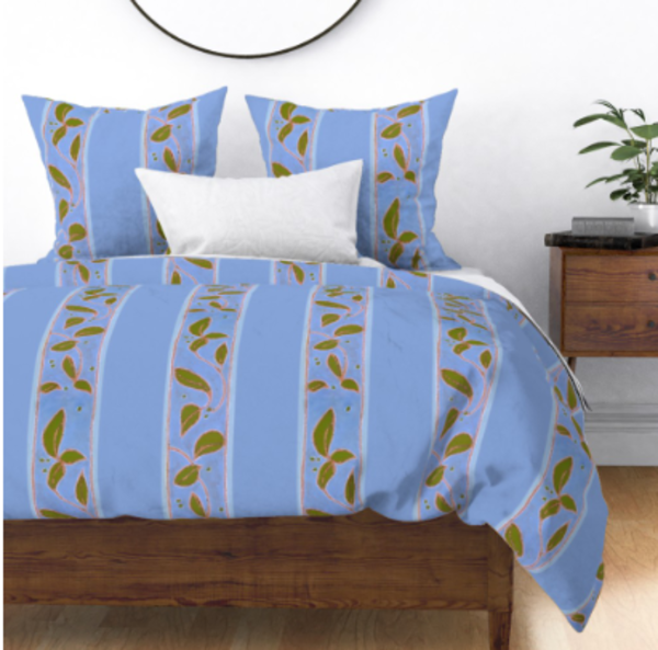 Provence Blue Stripe Bedroom Decor