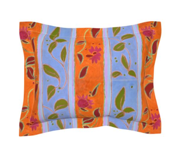 Lavender Blue Orange Stripe Floral Bedroom Linens