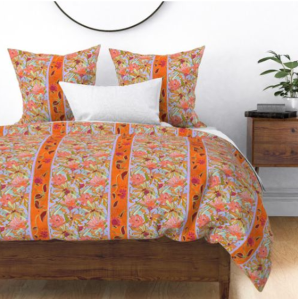 Wildflower Pastels Orange Stripe Bedroom Decor