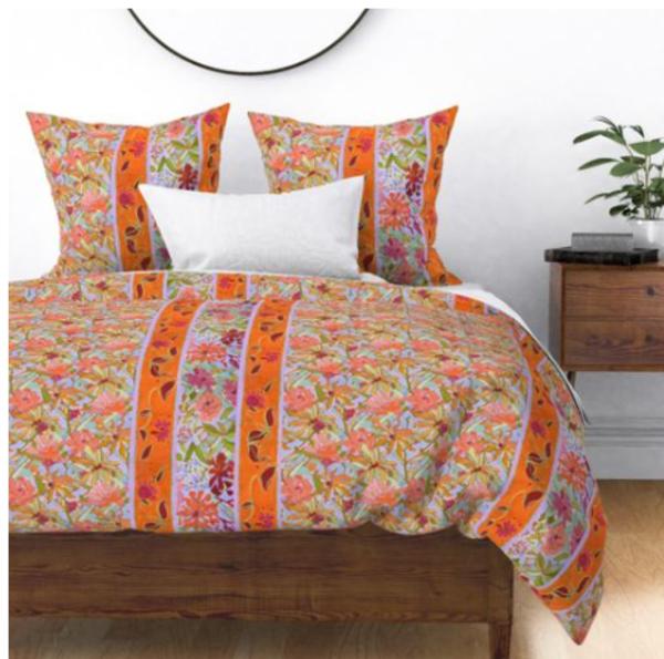 Wildflower Pastels Wide Stripe Bedroom Decor