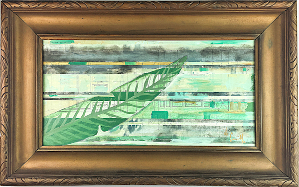 Palm Render' de Camille. Original Mixed Media Abstract Painting of Palms in a vintage frame