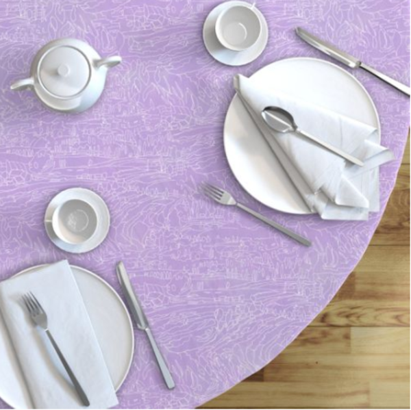 French Lavender Landscape Table Linens by Dorothy Fagan