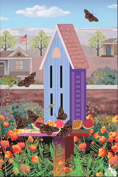 Butterfly House Among Desert Bird of Paradise