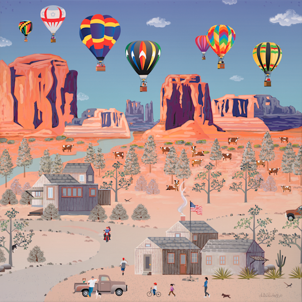 American folk art,Hot air balloons, colorful  landscape, Prints shipped directly to you!