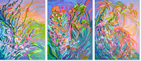 Abstract Floral Mural Triptych Original Oil Painting by Dorothy Fagan