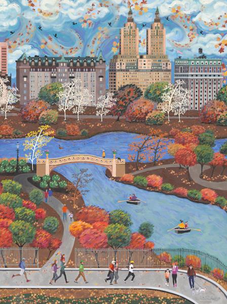Autumn New York Central Park  Americana Folk Art Fine Art Prints