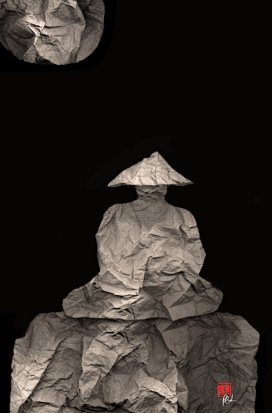 Monk Meditates Under Full Moon Art   Zen Art of Enlightenment