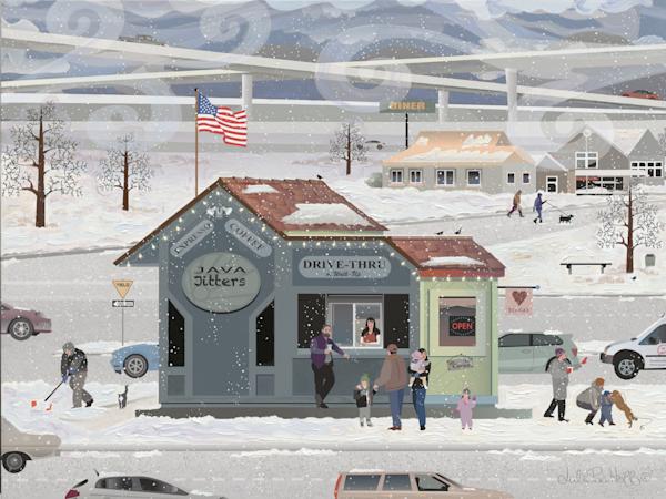 Coffee Snowy Winter Morning Art Prints