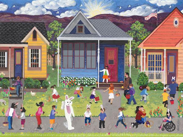 Neighborhood Easter Egg Hunt   Metal & Acrylic Prints Art | Julie Pace Hoff Gallery