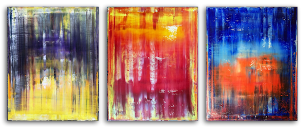Elemental original PMS triptych painting