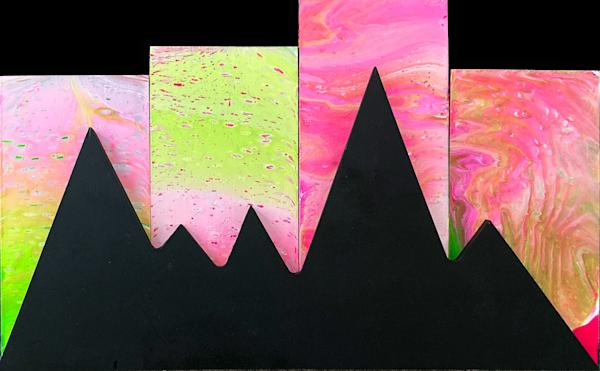 Aurora Borealis fluid assemblage painting