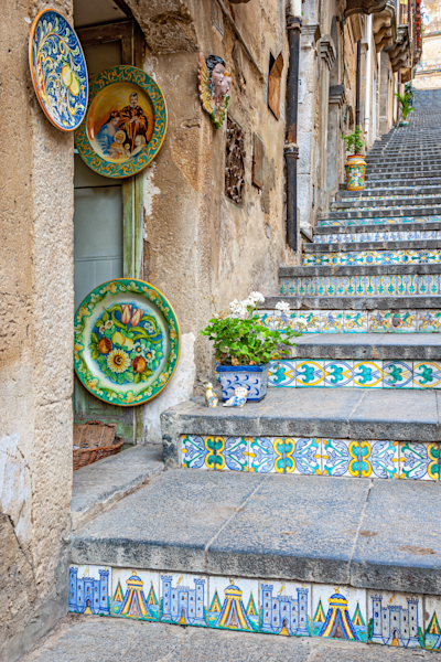 ceramics stairs, 142 steps of the Scalinata di Santa Maria del Monte, Sicily, Caltagiorne